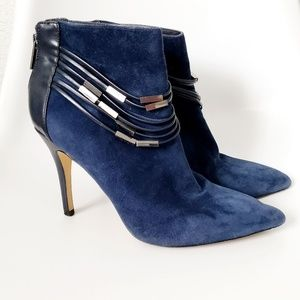 Saks Fifth Avenue Casper Blue Suede Stiletto Boots